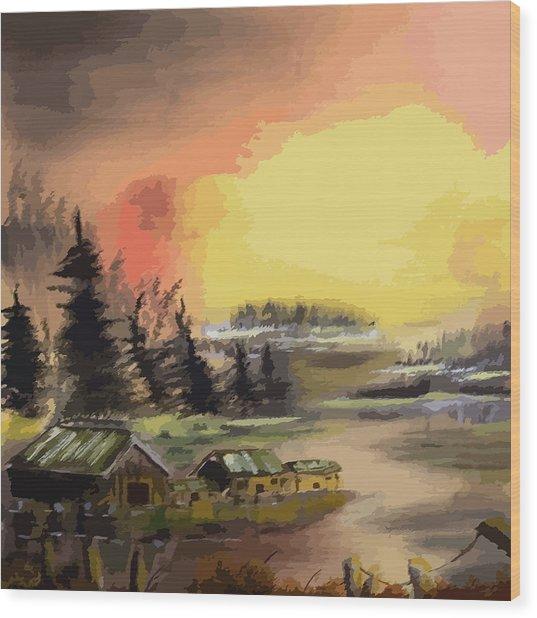 110214fa Fishing Camp Wood Print