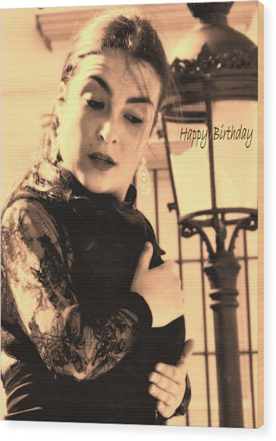 114 Chiki Torres Birthday Card - Flamenco Dancer Wood Print by Patrick King