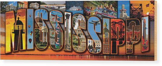12 X 36 Horizontal Mississippi Postcard Version 1 Wood Print