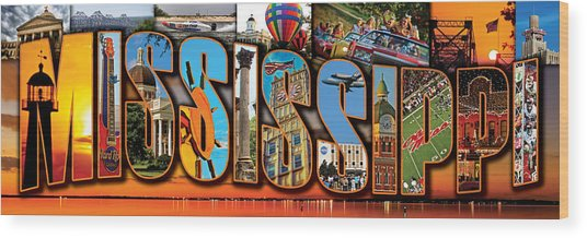 12 X 36 Horizontal Mississippi Postcard Version 2 Wood Print