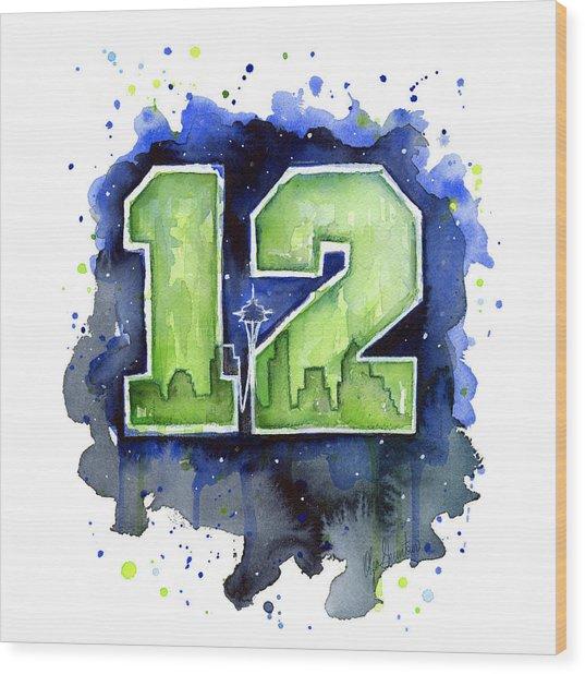 12th Man Seahawks Art Seattle Go Hawks Wood Print