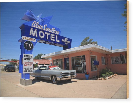Route 66 - Blue Swallow Motel Wood Print