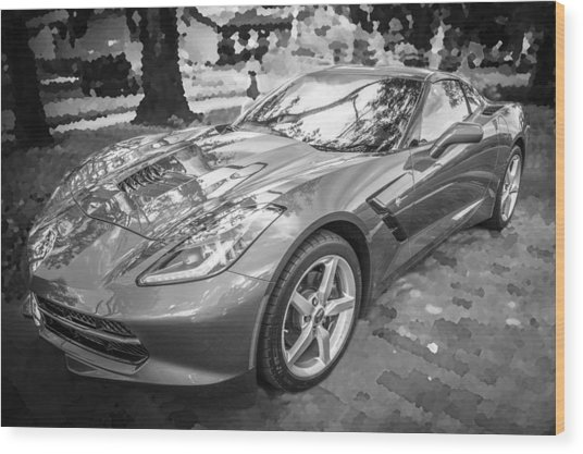 2014 Chevrolet Corvette C7 Bw   Wood Print