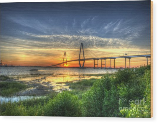 Lowcountry Sunset Wood Print