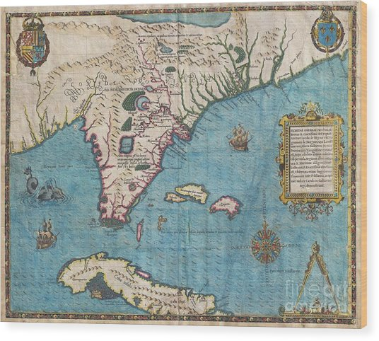 1591 De Bry And Le Moyne Map Of Florida And Cuba Wood Print