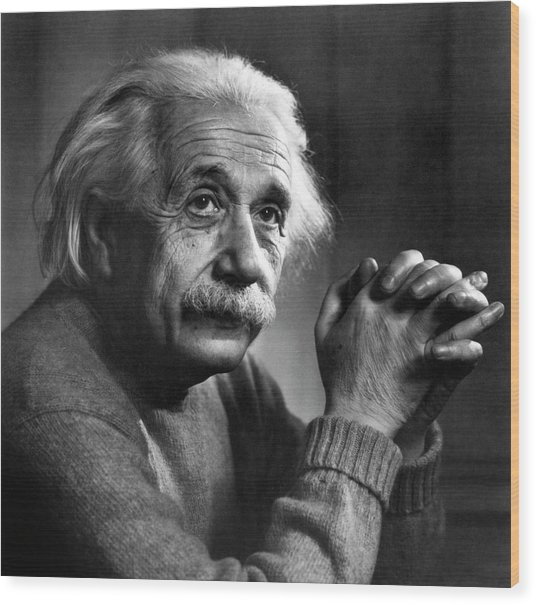 Albert Einstein Wood Print by Emilio Segre Visual Archives/american Institute Of Physics