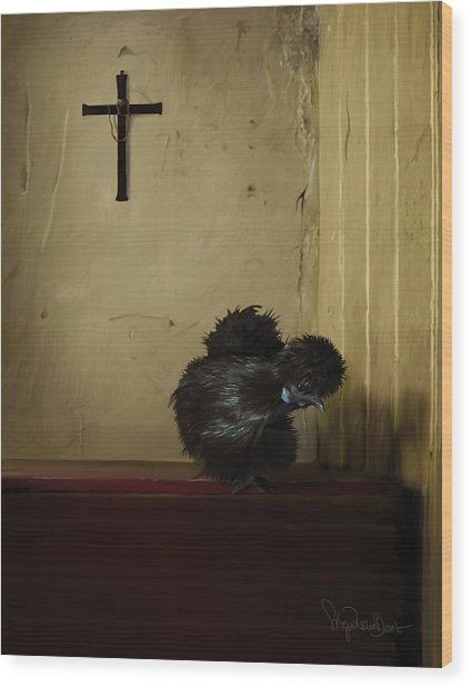 16. Black Silkie Wood Print