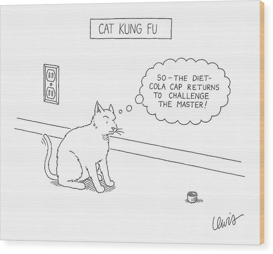 Cat Kung Fu Wood Print