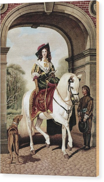 1600s Woman Riding Sidesaddle Painting Wood Print