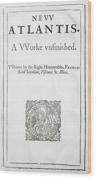 1627 Francis Bacon New Atlantis Frontis Wood Print by Paul D Stewart