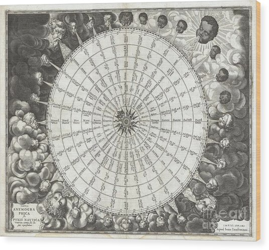 1650 Jansson Wind Rose Anemographic Chart Or Map Of The Winds Wood Print