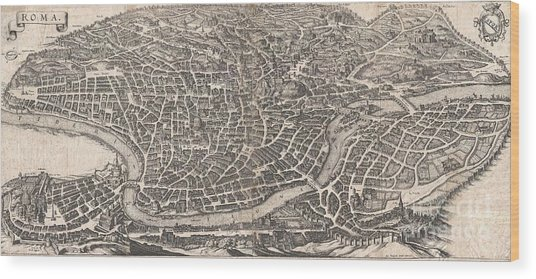 1652 Merian Panoramic View Or Map Of Rome Italy Wood Print