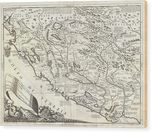 1690 Coronelli Map Of Montenegro Wood Print