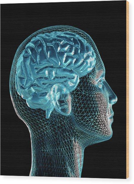Brain Wood Print by Pasieka