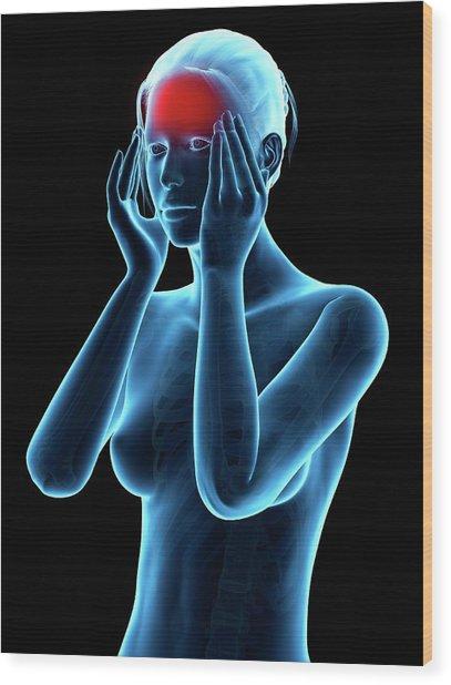 Human Headache Wood Print by Sebastian Kaulitzki