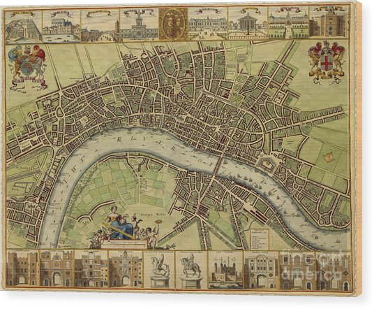 17 Th Century Map Of London England Wood Print
