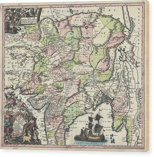1700 Map Of India Wood Print