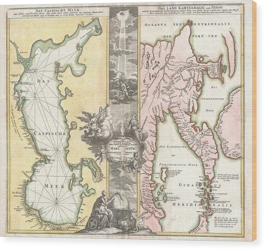 1725 Homann Map Of The Caspian Sea And Kamchatka Wood Print by Paul Fearn