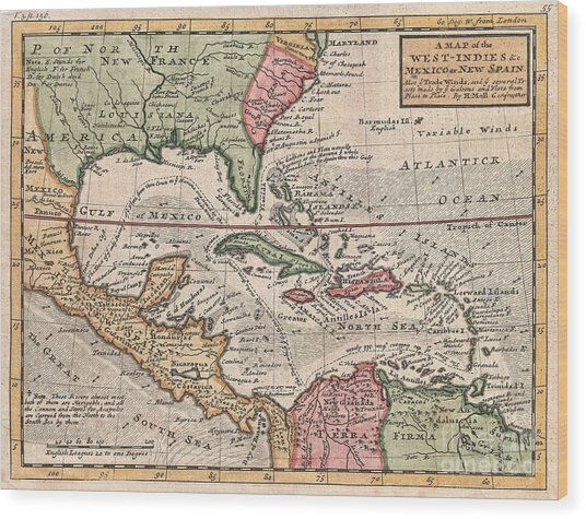 1732 Herman Moll Map Of The West Indies And Caribbean Wood Print