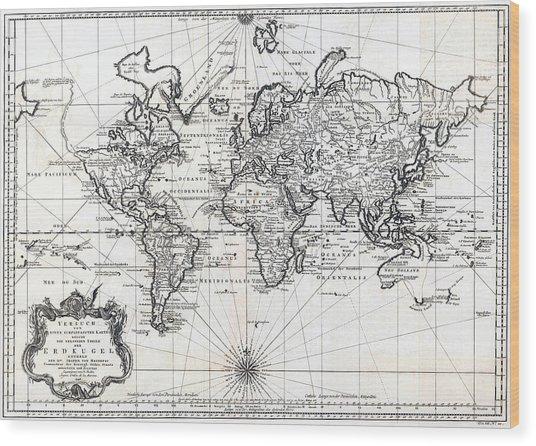 1748 Antique World Map Versuch Von Einer Kurzgefassten Karte  Wood Print