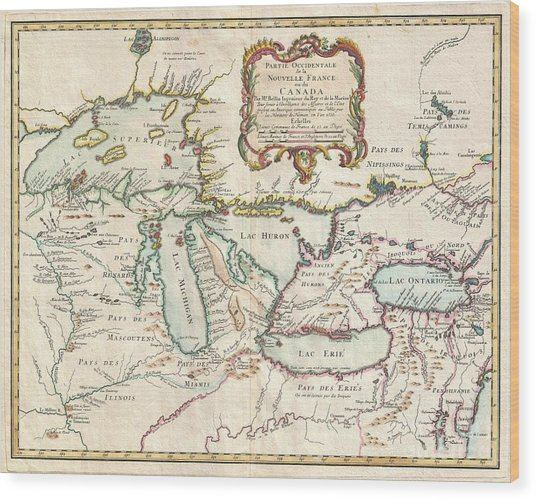 1755 Bellin Map Of The Great Lakes Wood Print