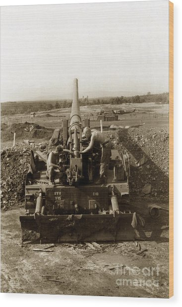 175mm Self Propelled Gun C 10 7-15th Field Artillery Vietnam 1968 Wood Print