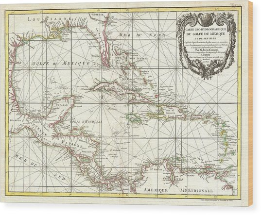 1762 Zannoni Map Of Central America And The West Indies Wood Print