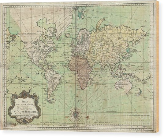 1778 Bellin Nautical Chart Or Map Of The World Wood Print
