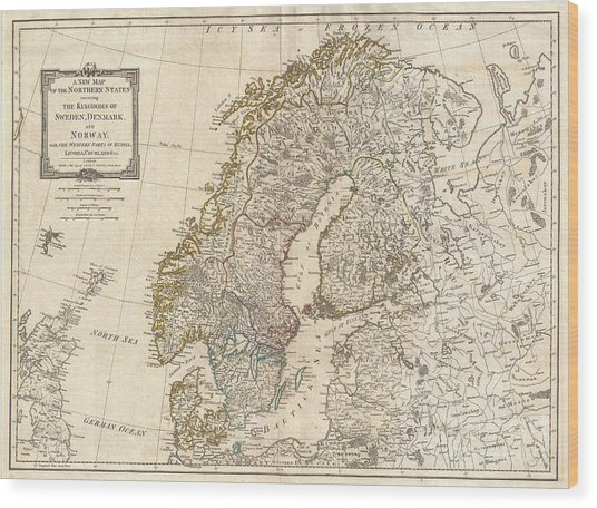 1794 Laurie And Whittle Map Of Norway Sweden Denmark And Finland Wood Print