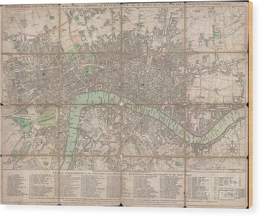 1795 Bowles Pocket Map Of London Wood Print
