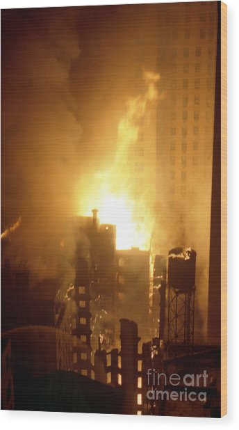 18 Alarm Hotel St George Fire Wood Print