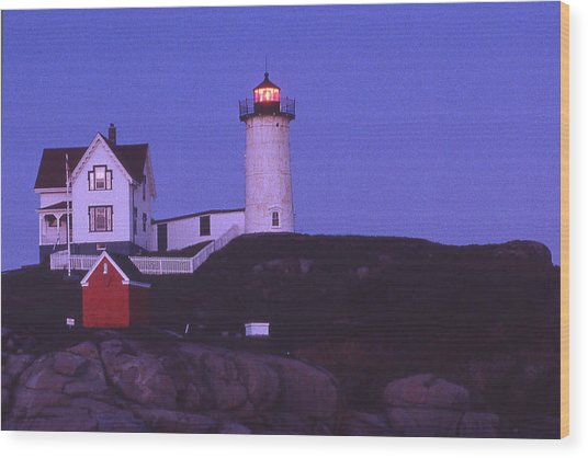 Cape Neddick Light Wood Print by Herbert Gatewood