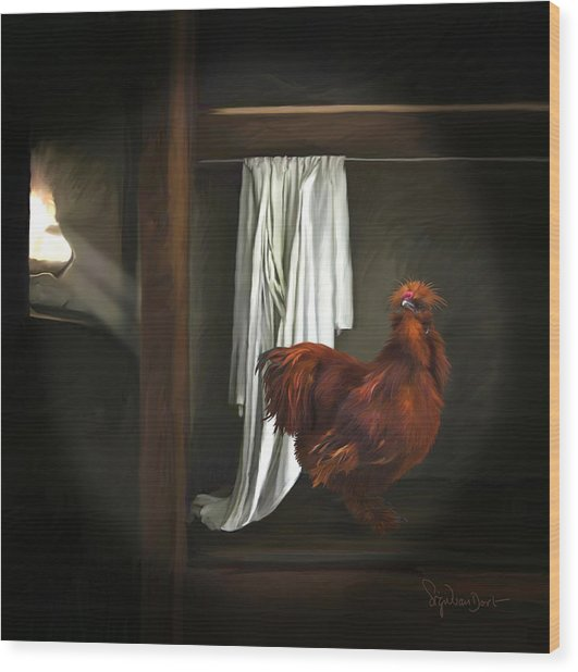 18. Red Rooster Wood Print