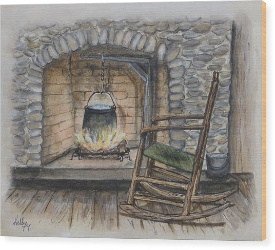 1800s Cozy Cooking .... Fire Place Wood Print