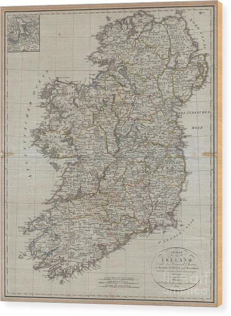 1804 Jeffreys And Kitchin Map Of Ireland Wood Print