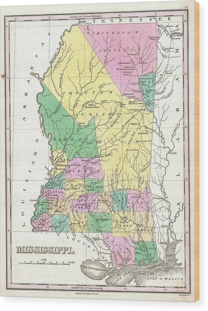 1827 Finley Map Of Mississippi Wood Print