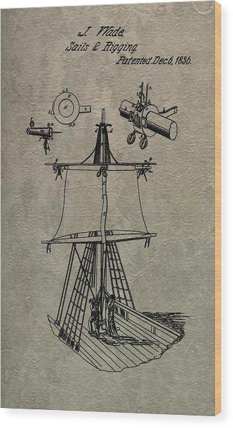 1836 Sailboat Patent Wood Print