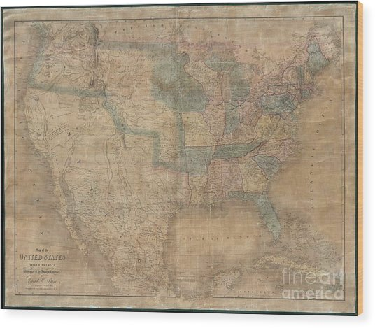 1839 Burr Wall Map Of The United States  Wood Print