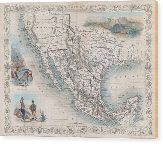 1851 Tallis Map Of Mexico Texas And California  Wood Print