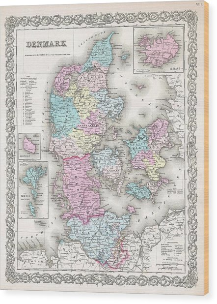 1855 Colton Map Of Denmark Wood Print