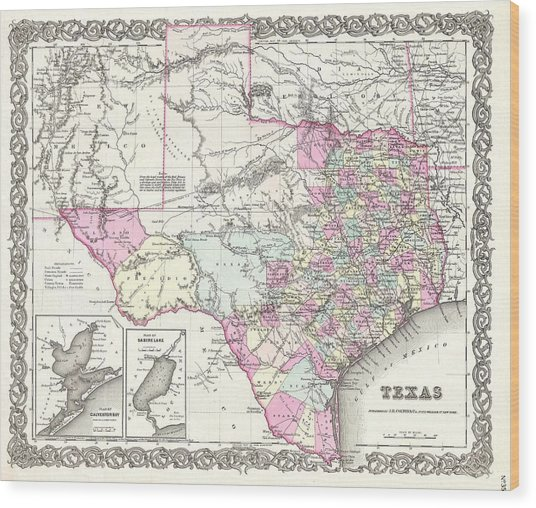 1855 Colton Map Of Texas Wood Print