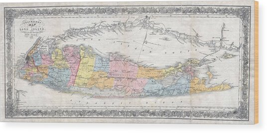 1857 Colton Travellers Map Of Long Island New York Wood Print
