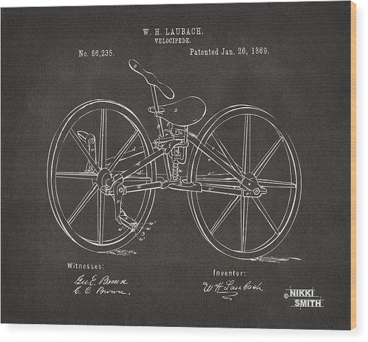 1869 Velocipede Bicycle Patent Artwork - Gray Wood Print
