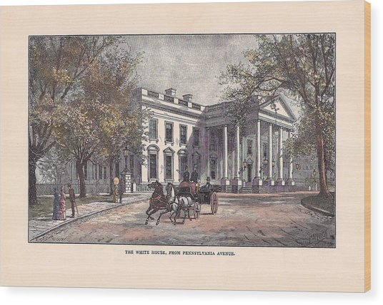 1870's White House Wood Print by Charles Somerville