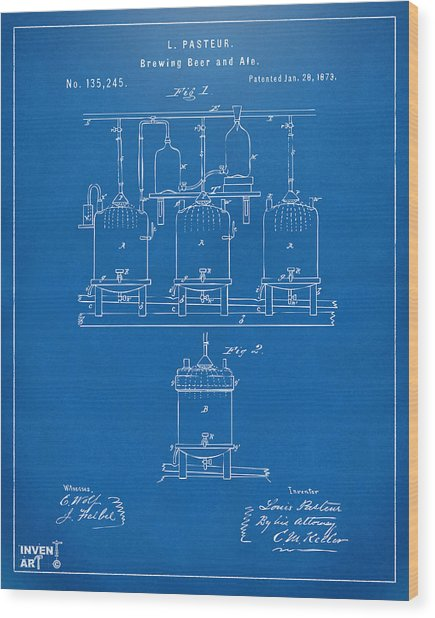 Wood Print featuring the digital art 1873 Brewing Beer And Ale Patent Artwork - Blueprint by Nikki Marie Smith