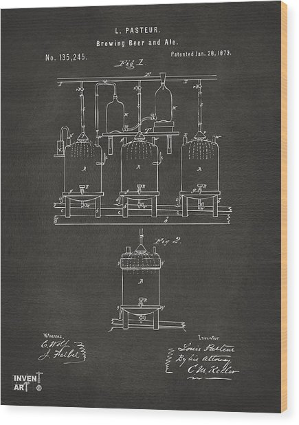 Wood Print featuring the digital art 1873 Brewing Beer And Ale Patent Artwork - Gray by Nikki Marie Smith