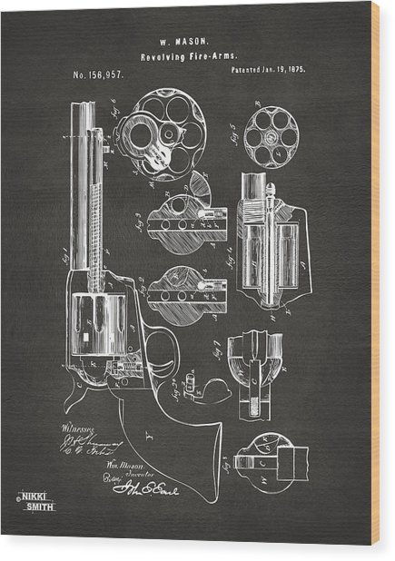 Wood Print featuring the digital art 1875 Colt Peacemaker Revolver Patent Artwork - Gray by Nikki Marie Smith
