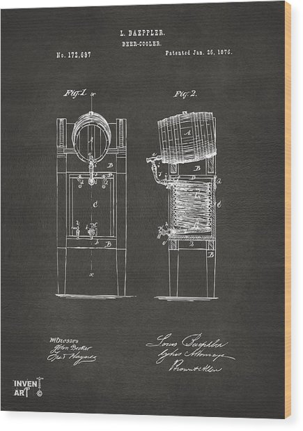 Wood Print featuring the digital art 1876 Beer Keg Cooler Patent Artwork - Gray by Nikki Marie Smith