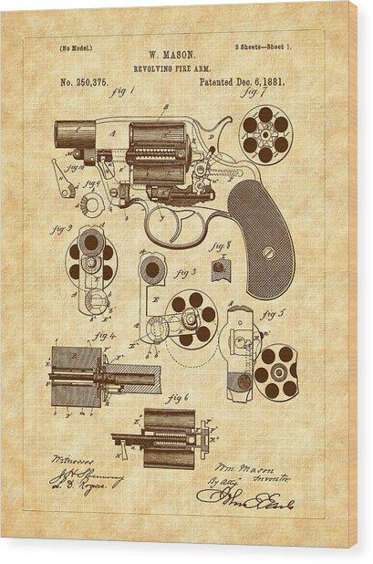 1881 Mason Revolver Firearm Patent Wood Print