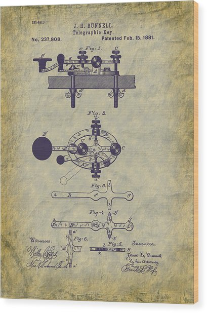1881 Telegraph Key Patent Art Wood Print